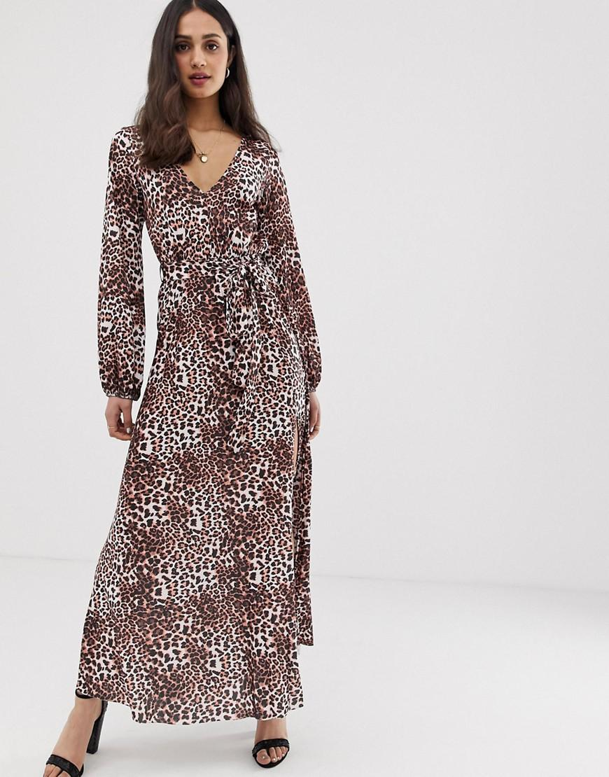 472dbbe927fa ASOS. Women's Yellow Belted Maxi Dress With Pleated Skirt In Leopard Print