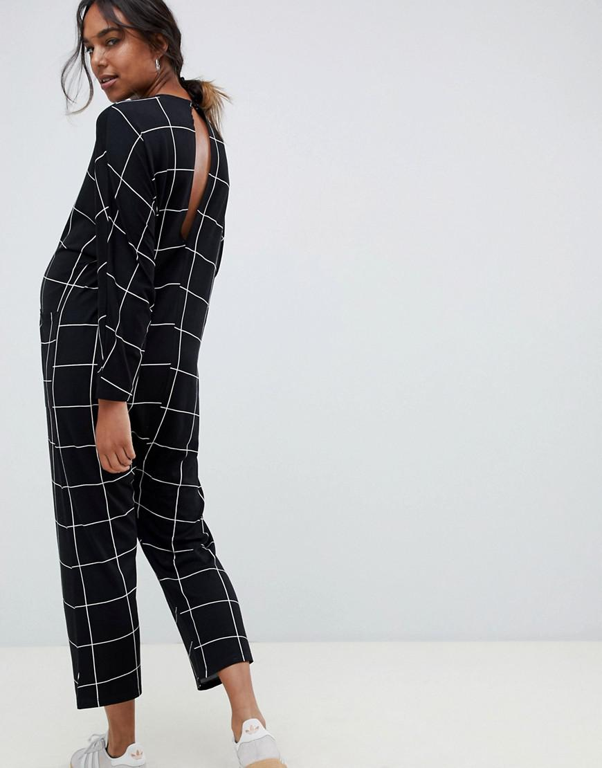 198678b564 Lyst - ASOS Asos Design Maternity Minimal Jersey Jumpsuit With Batwing  Sleeve In Check Print in Black