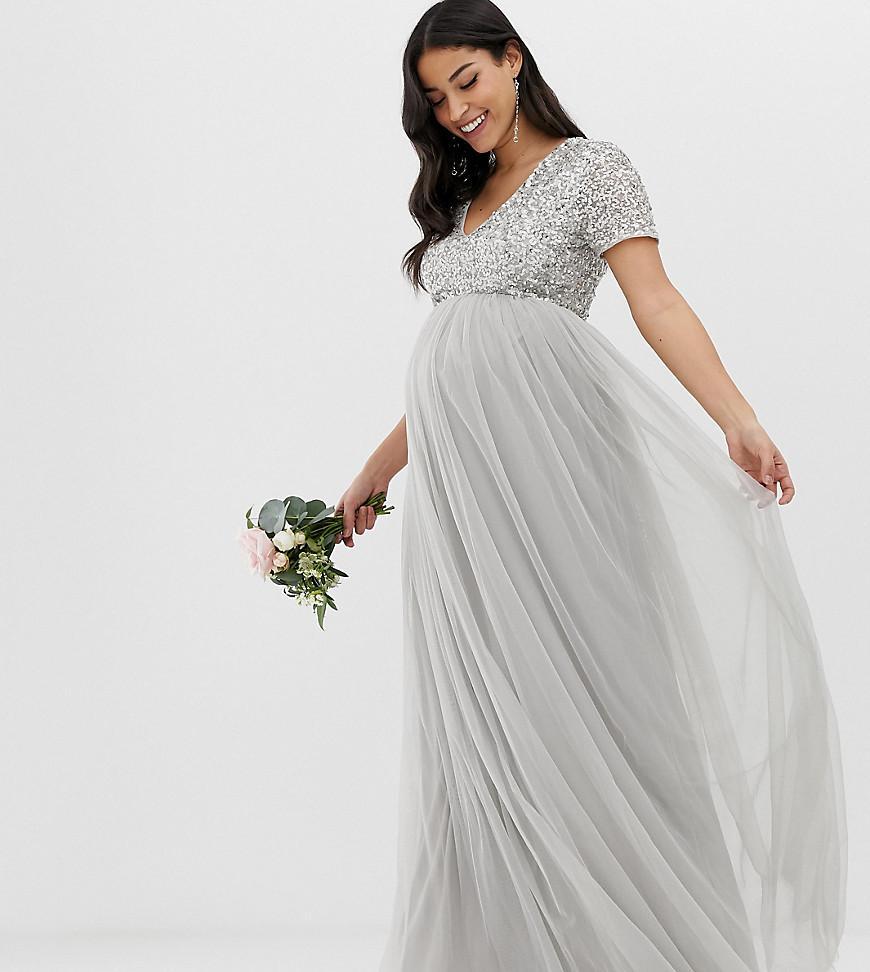 5991201e658 Maya Maternity. Women s Gray Bridesmaid Bardot Maxi Tulle Dress With Tonal Delicate  Sequins In Soft Grey