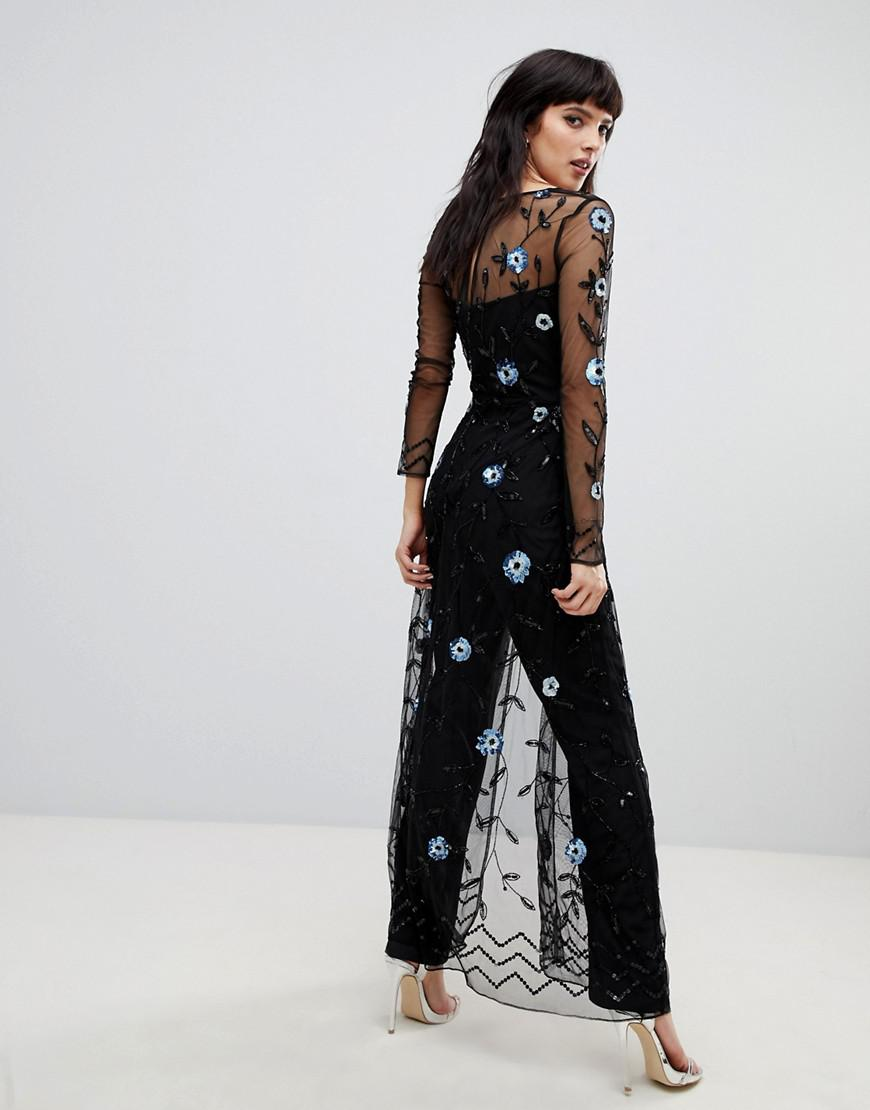 5935720efe Frock and Frill Allover Embellished Maxi Cape Jumpsuit In Black in ...