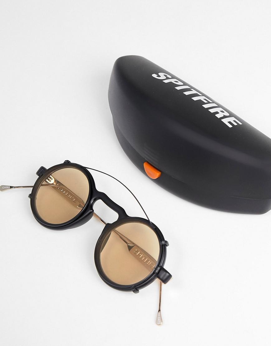 3e7ec3f524b4 Spitfire Clip On Round Sunglasses In Black   Tan in Black for Men - Lyst