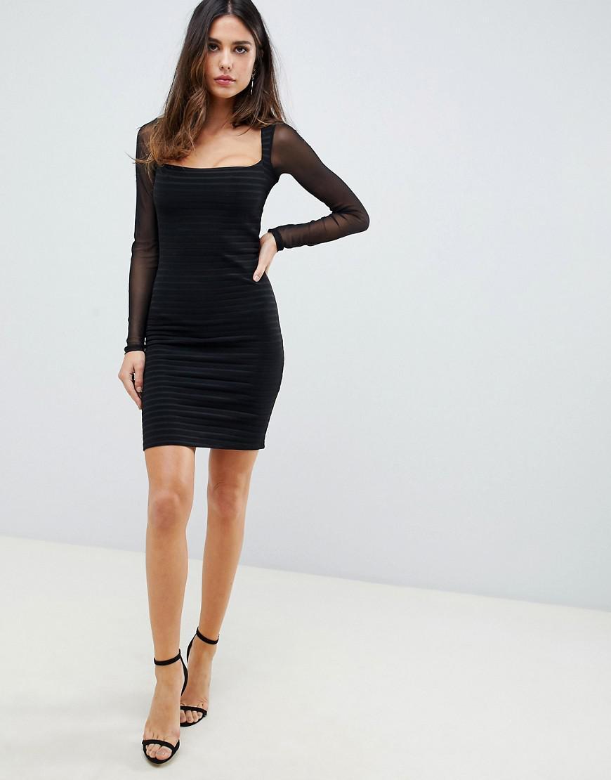 919dd3cffa Lyst - ASOS Bandage Mini Bodycon Dress With Mesh Sleeves in Black