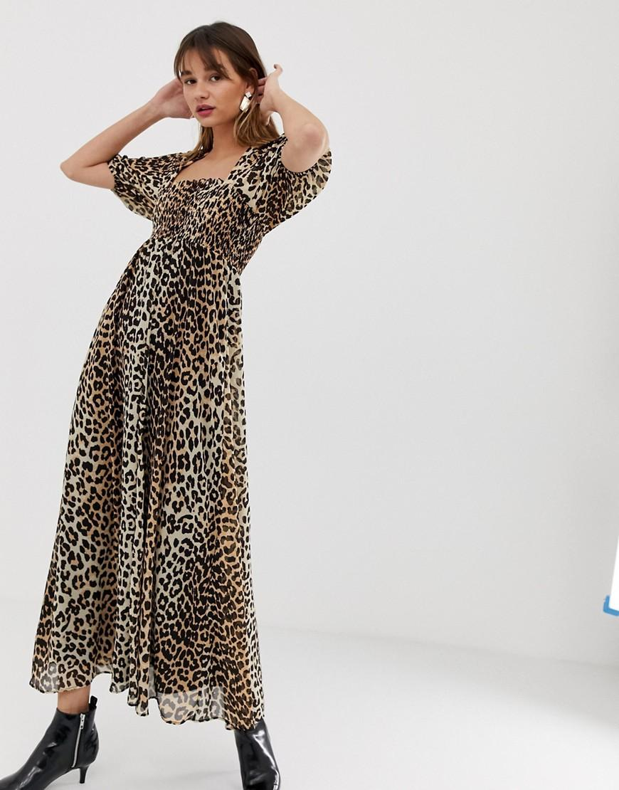 08d3af6cfbc2 ASOS. Women's Shirred Bustier Maxi Dress In Leopard Print