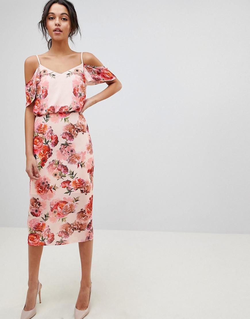 ea89d049ef Lyst - Oasis Floral Print Cold Shoulder Midi Dress in Pink