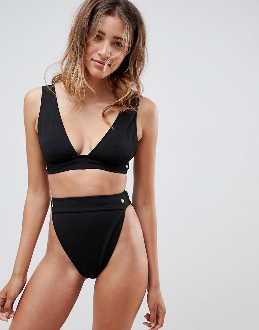 6705c7a48fbbc Lyst - ASOS Gold Stud Detail Bandage Deep Crop Bikini Top in Black