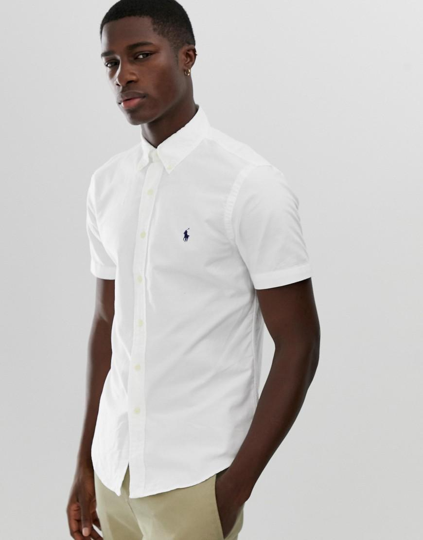9bdeb75c Polo Ralph Lauren. Short Sleeve Slim Fit Garment Dyed Shirt With Button Down  Collar In White