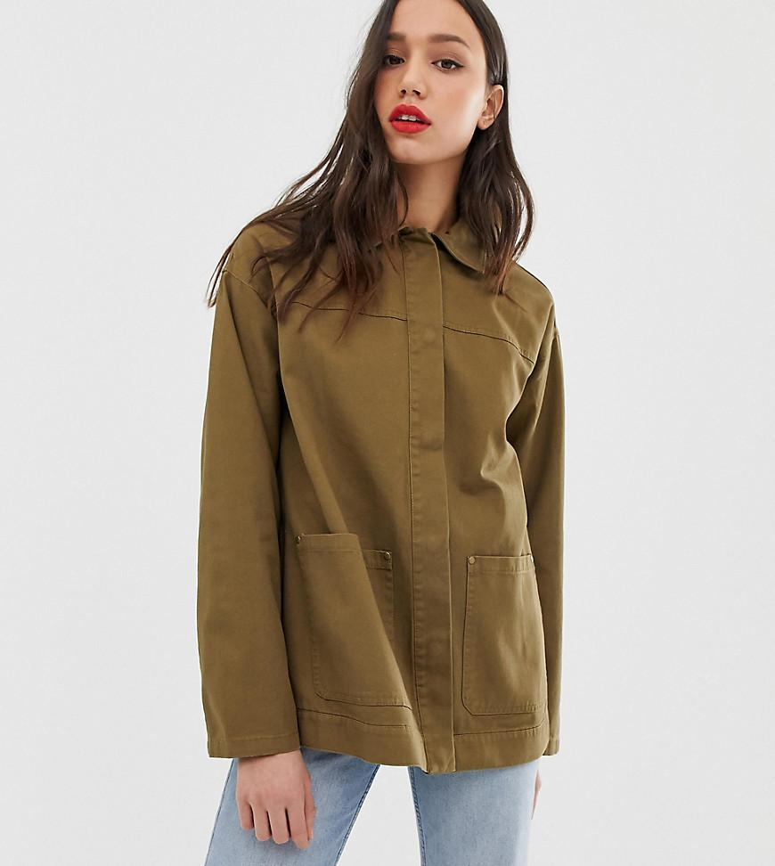 24c62f633c20 Lyst - ASOS Asos Design Tall Utility Washed Cotton Jacket in Green