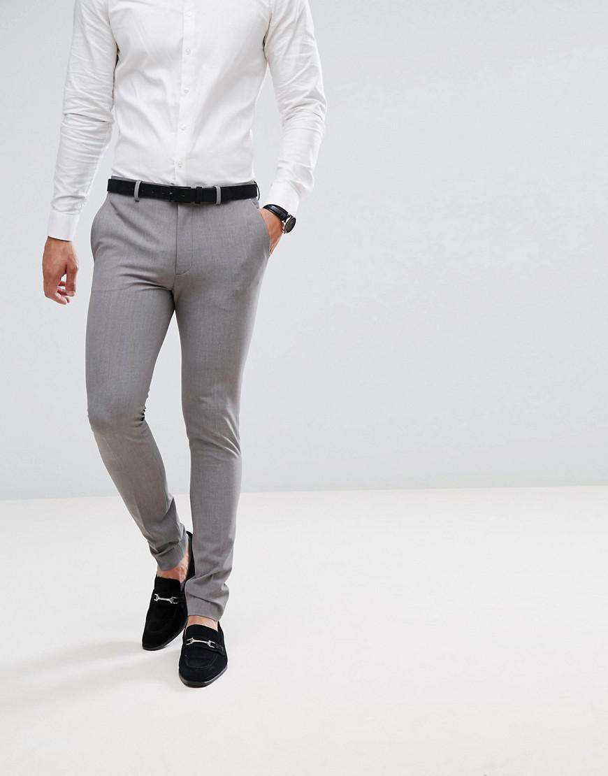 9db04a89b4a74 ASOS Super Skinny Fit Suit Pants In Mid Gray in Gray for Men - Lyst