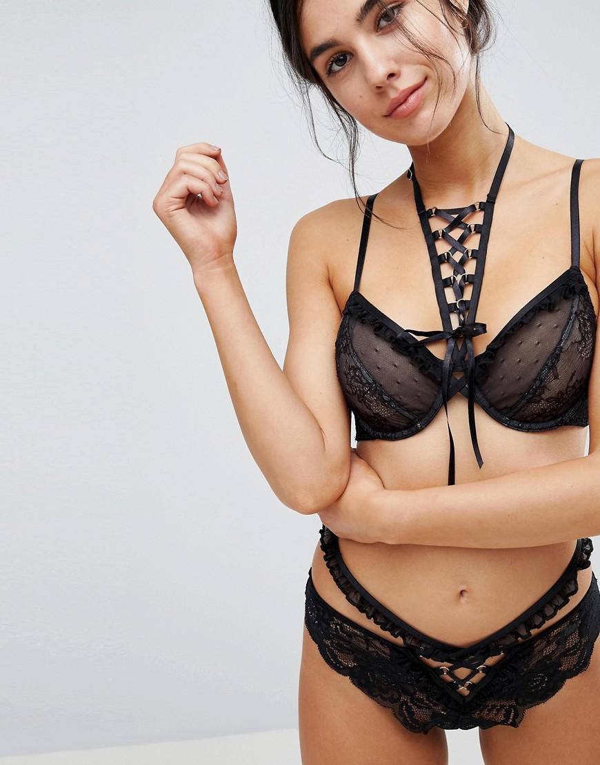 9c0d779563 Lyst - ASOS Premium Danielle Lace Up Plunge Underwire Bra in Black