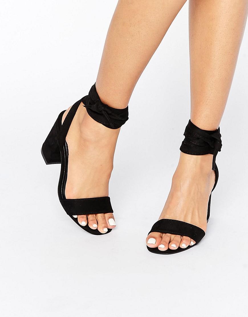 cf78c2927dfb Park Lane Tie Ankle Block Heel Sandal in Black - Lyst