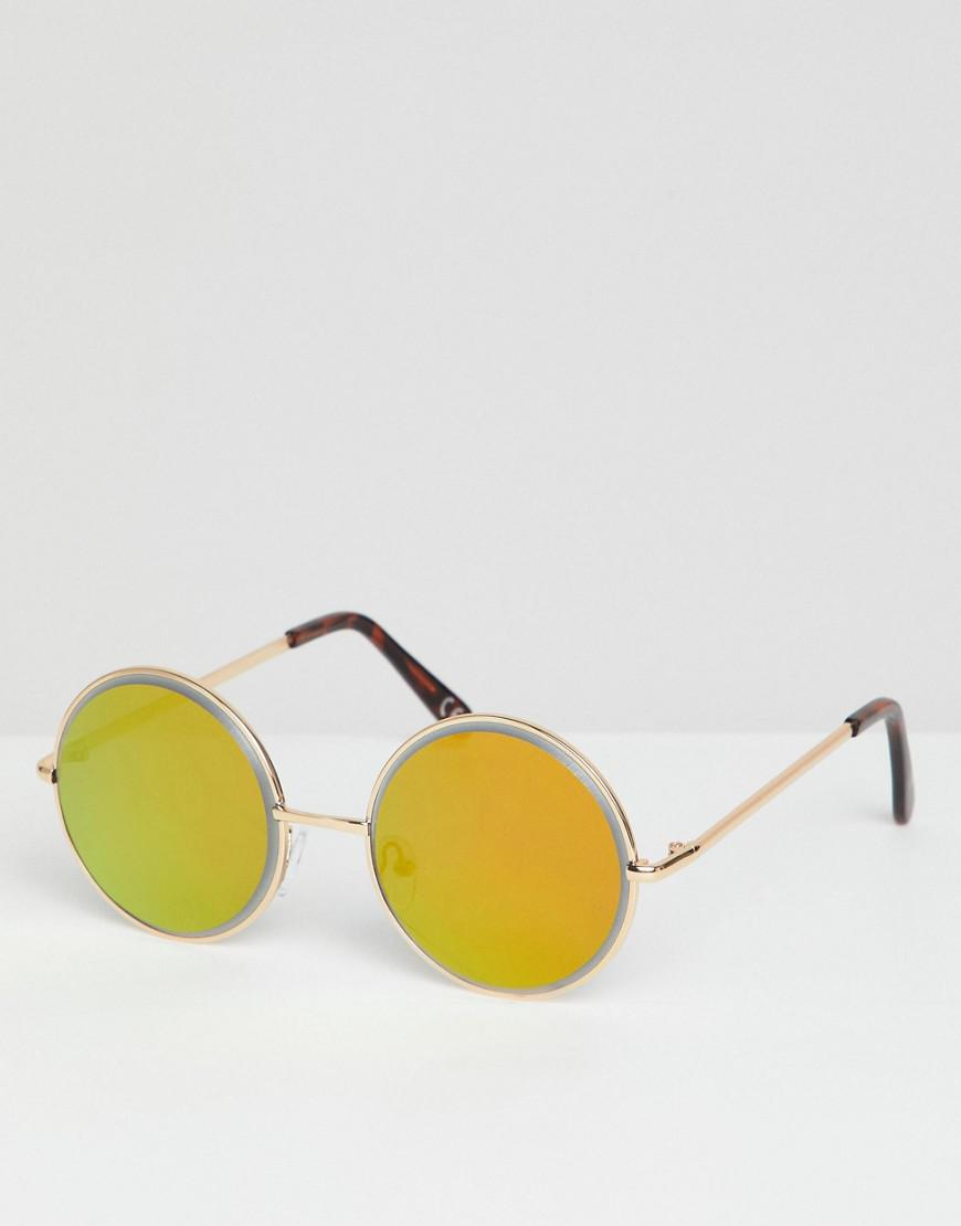 a0f35b5e54 ASOS. Men s Metallic Round Sunglasses In Gold With Gold Bezelled Mirrored  Lens