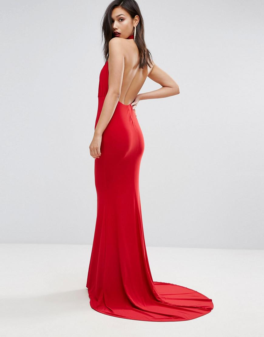 d99618fcd24a Club L High Neck Pleated Detail Fishtail Maxi Dress in Red - Lyst