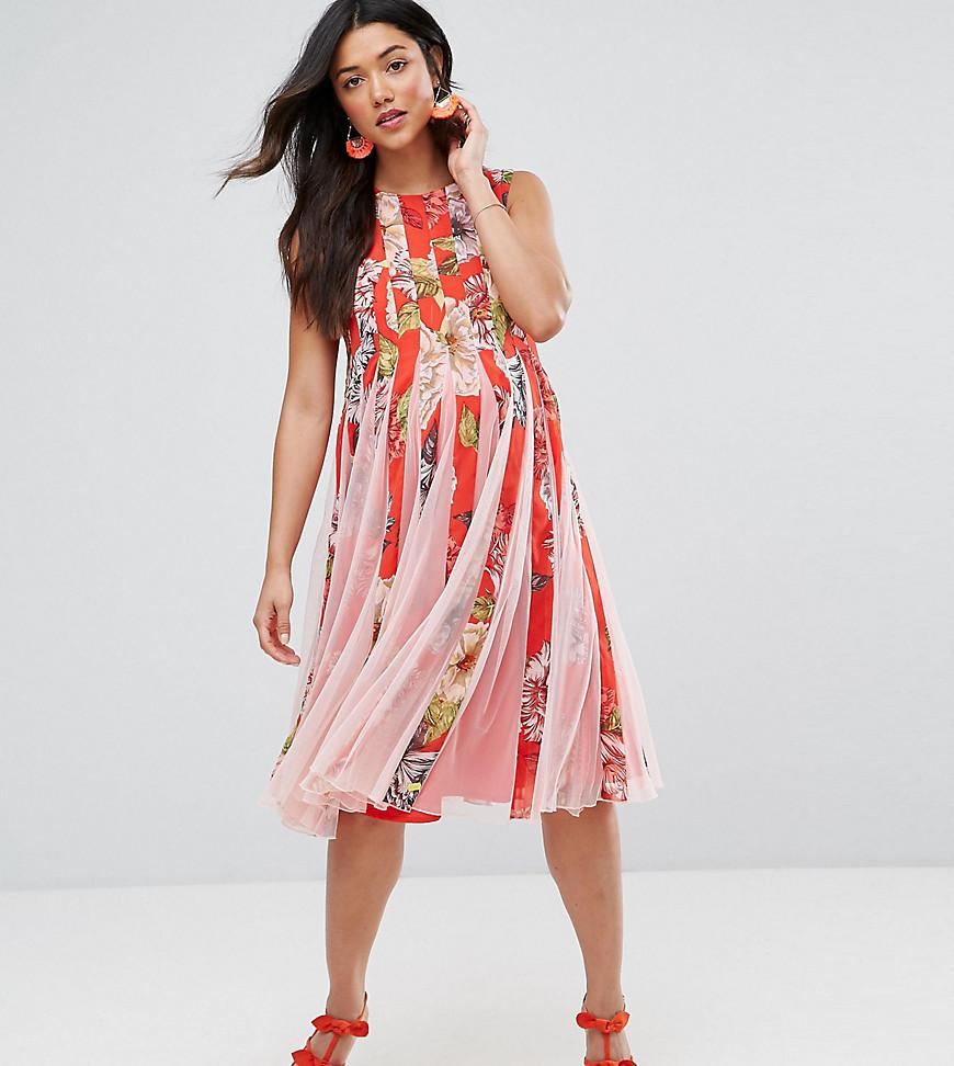 Floral Mesh Insert Fit and Flare Midi Dress - Multi Asos Maternity GGhKB