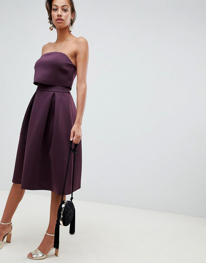 c0b5f9c899769 Lyst - ASOS Bandeau Crop Top Prom Midi Dress in Purple