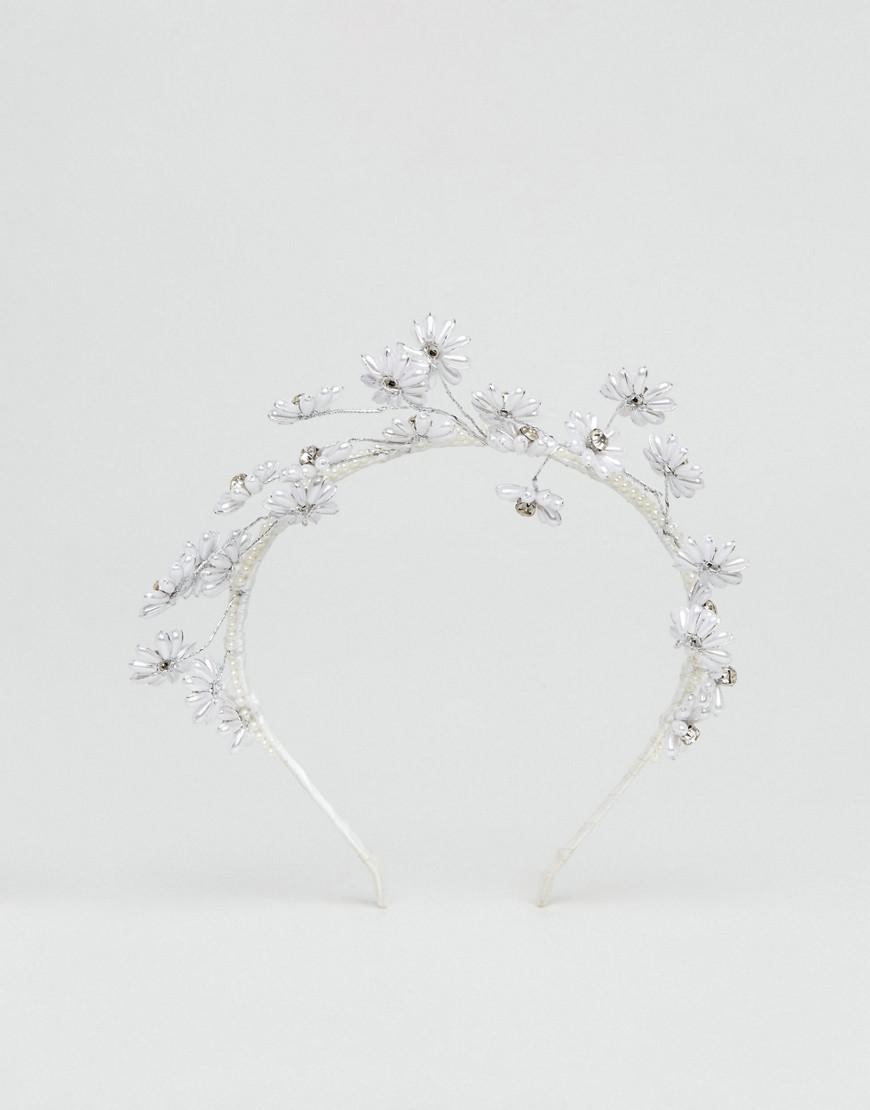 Lyst loverocks london races day pearl flower crown in metallic gallery izmirmasajfo