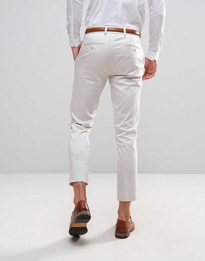 Wedding Skinny Crop Smart Trousers In Light Blue Cotton Sateen - Light blue Asos WwRdrS