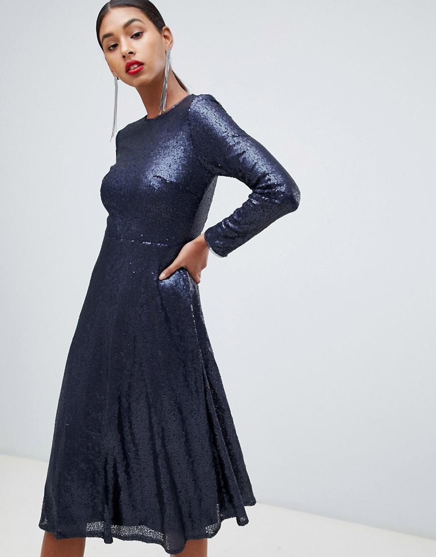 65ea9b9154d TFNC London. Women s Blue Long Sleeve Fit And Flare Sequin Midi Dress ...