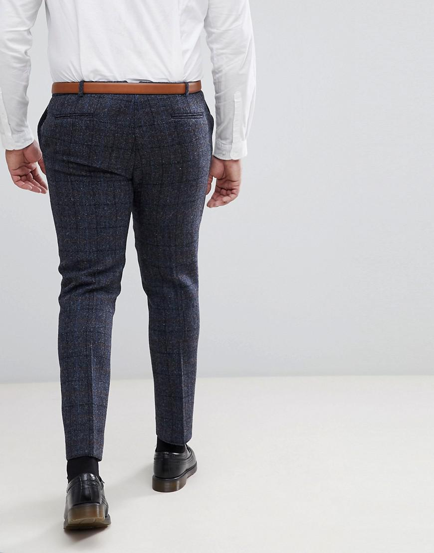 b0f08c920a7 Lyst - Heart   Dagger Plus Size Slim Suit Pant In Harris Tweed In Check in  Blue for Men