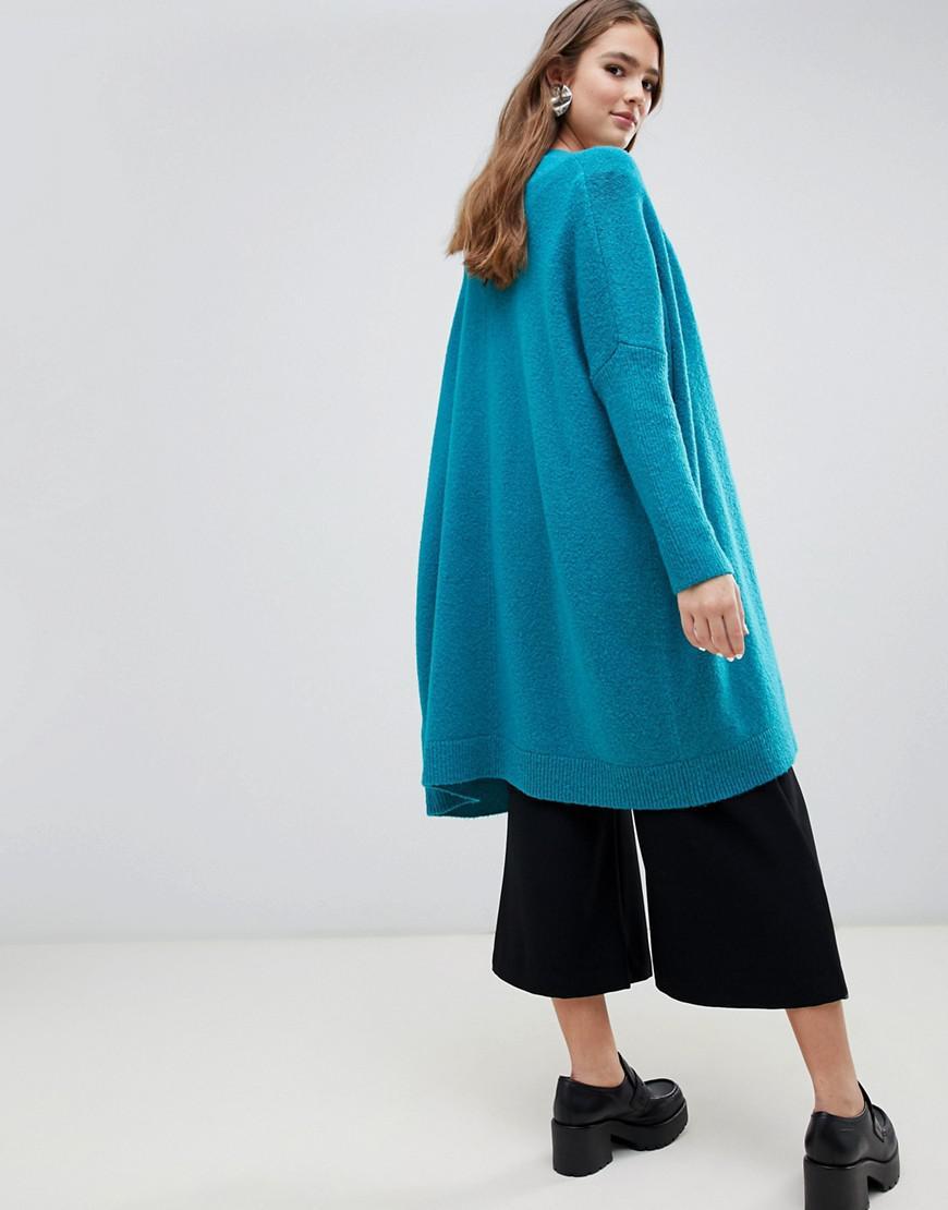 e151ea48b717 ASOS Eco Oversize Cardigan In Fluffy Yarn in Green - Lyst