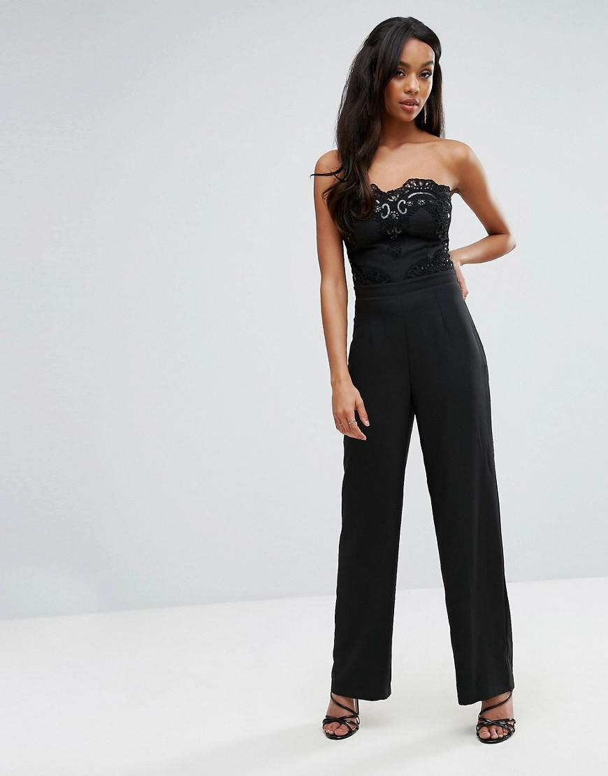 588a3aa2ae Lyst - Lipsy Michelle Keegan Loves Lace Bandeau Jumpsuit in Black