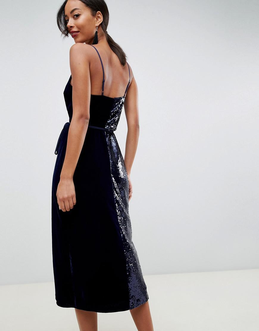 ae741e88abe ASOS Asos Design Tall Sequin And Velvet Cami Wrap Midi Dress in Blue - Lyst