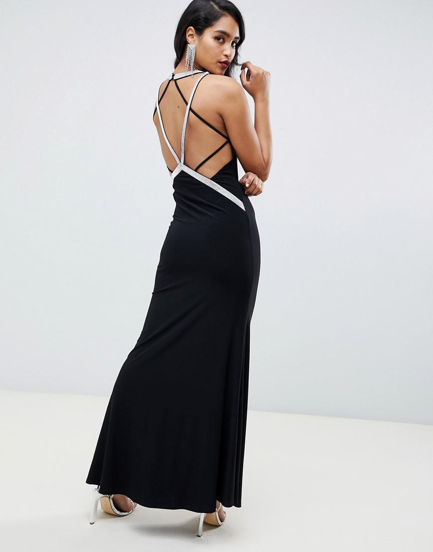b35df358071a ASOS Low Back Maxi With Diamante Straps Dress in Black - Lyst