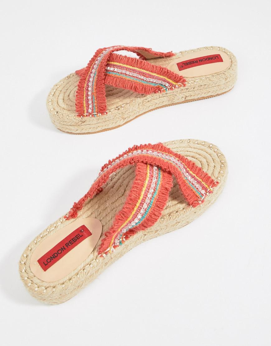 7c5700a71ec80e London Rebel Flatform Espadrille Sandals in Orange - Lyst