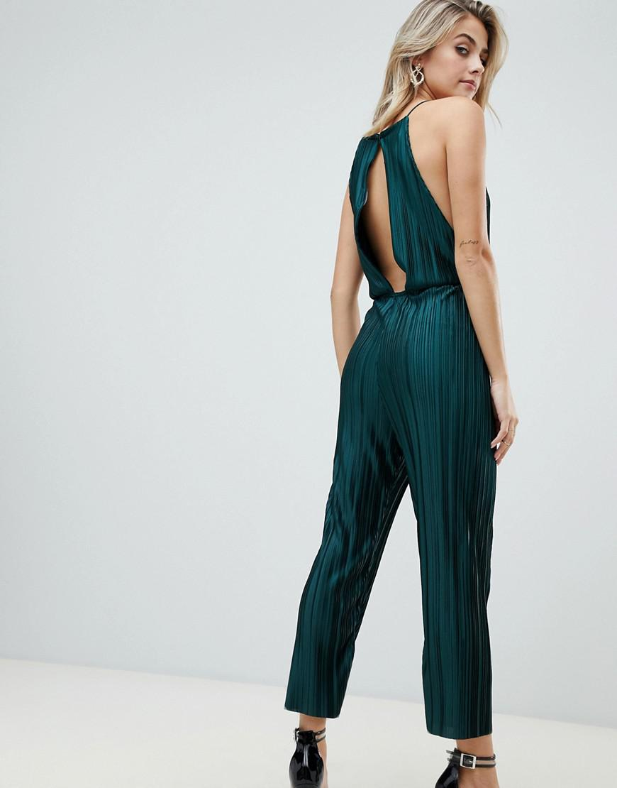 2693f5c866a5 PrettyLittleThing Open Back Culotte Jumpsuit In Green in Green - Lyst