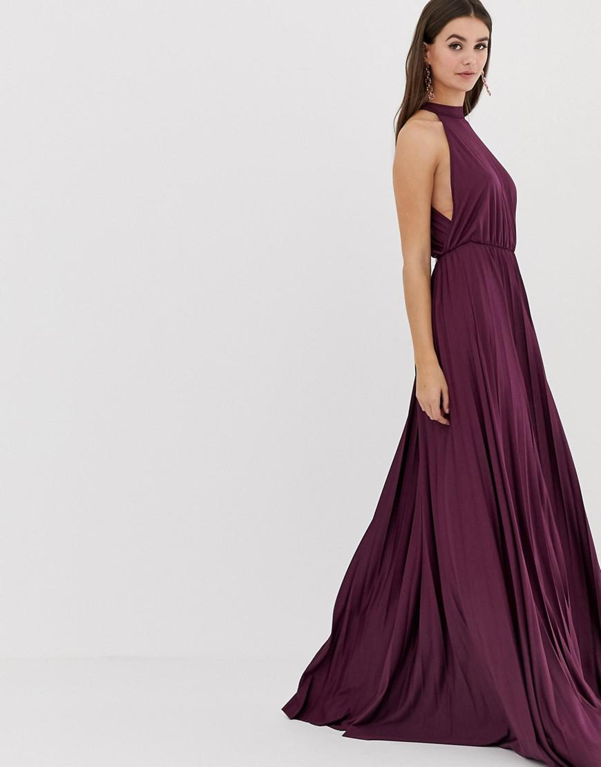 a086935e59a Lyst - ASOS Asos Design Tall Halter Pleated Waisted Maxi Dress in Purple