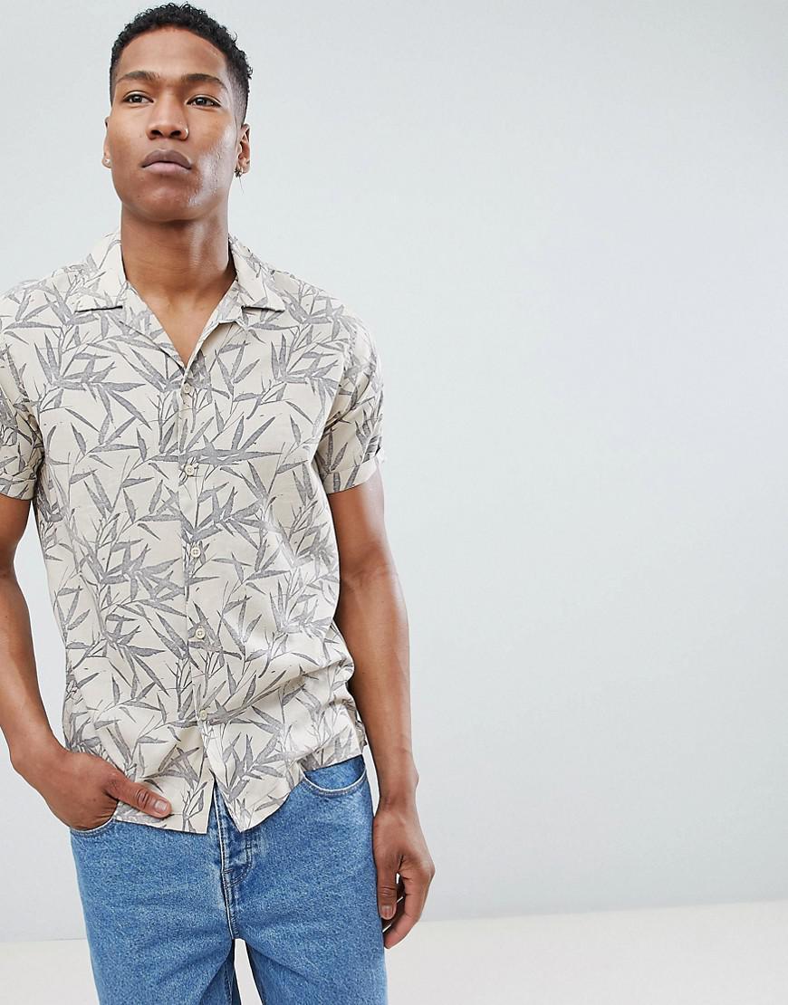 9c1388b2ae7 Jack   Jones Premium Revere Collar Short Sleeve Shirt With All Over ...