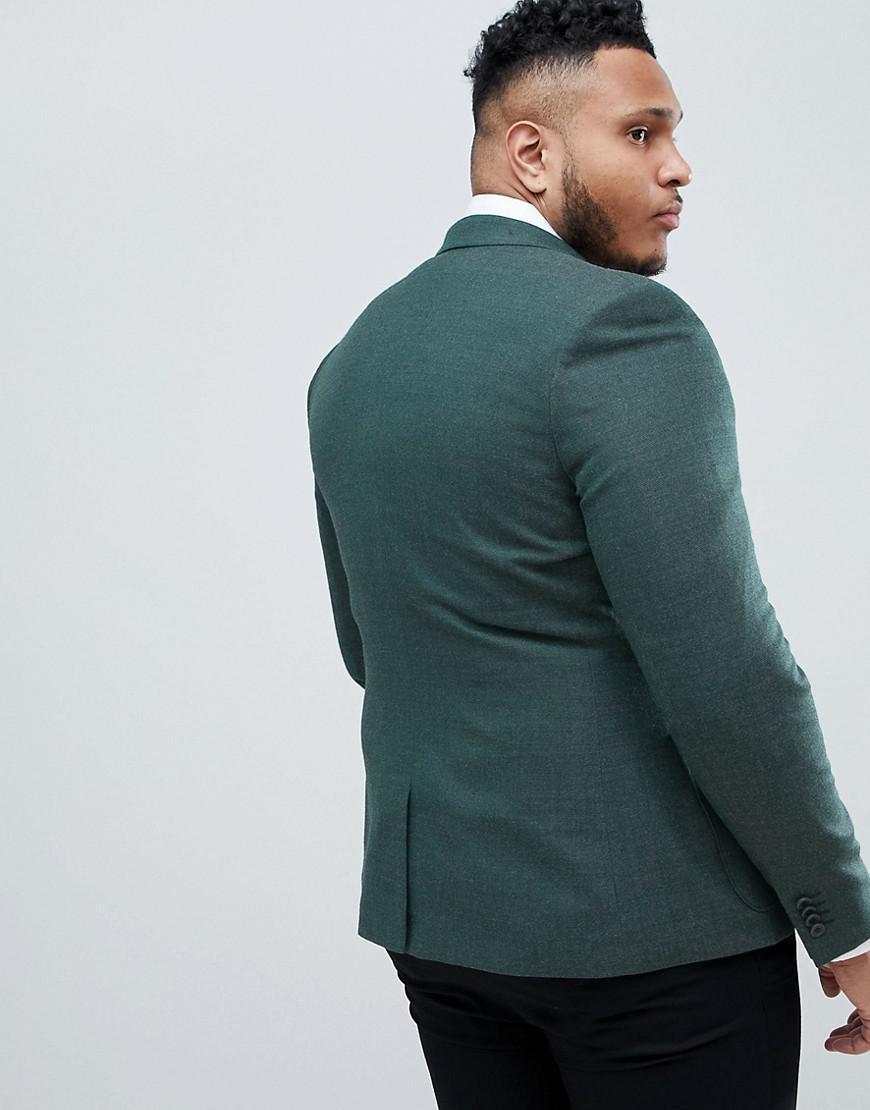e024edde11 Lyst - ASOS Plus Wedding Skinny Blazer In Green Wool Mix in Green for Men