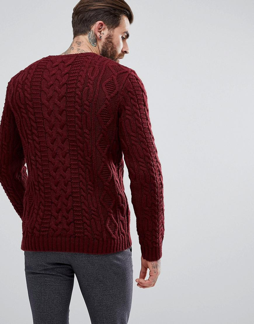 Asos Chunky Cable Knit Sweater In Burgundy in Red for Men | Lyst