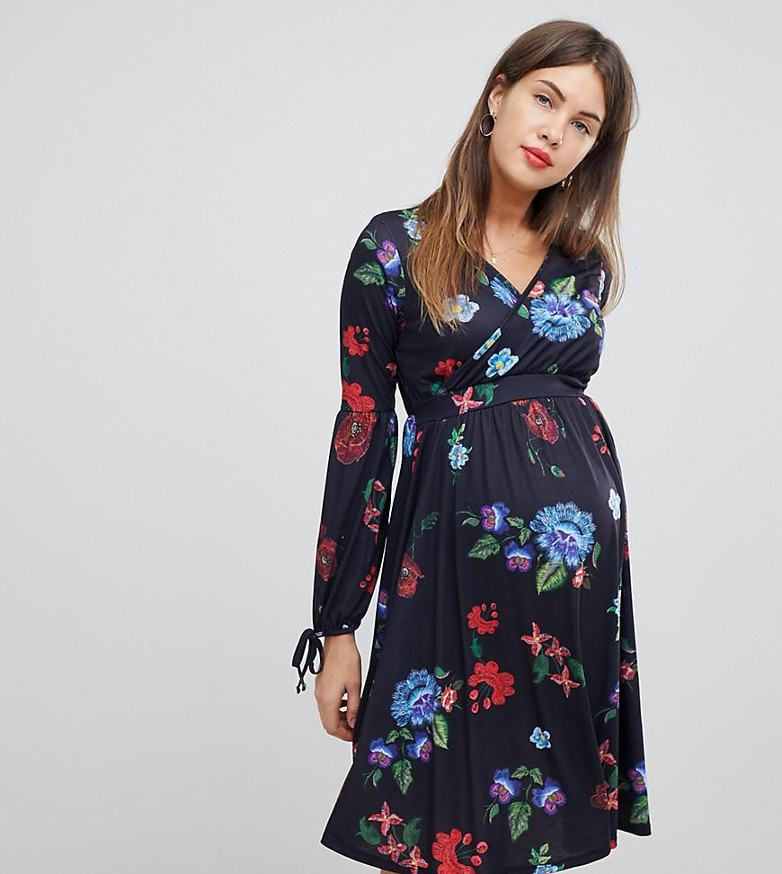 935f62f4f2 Bluebelle Maternity Midi Dress With Bell Sleeve In Folk Print in ...