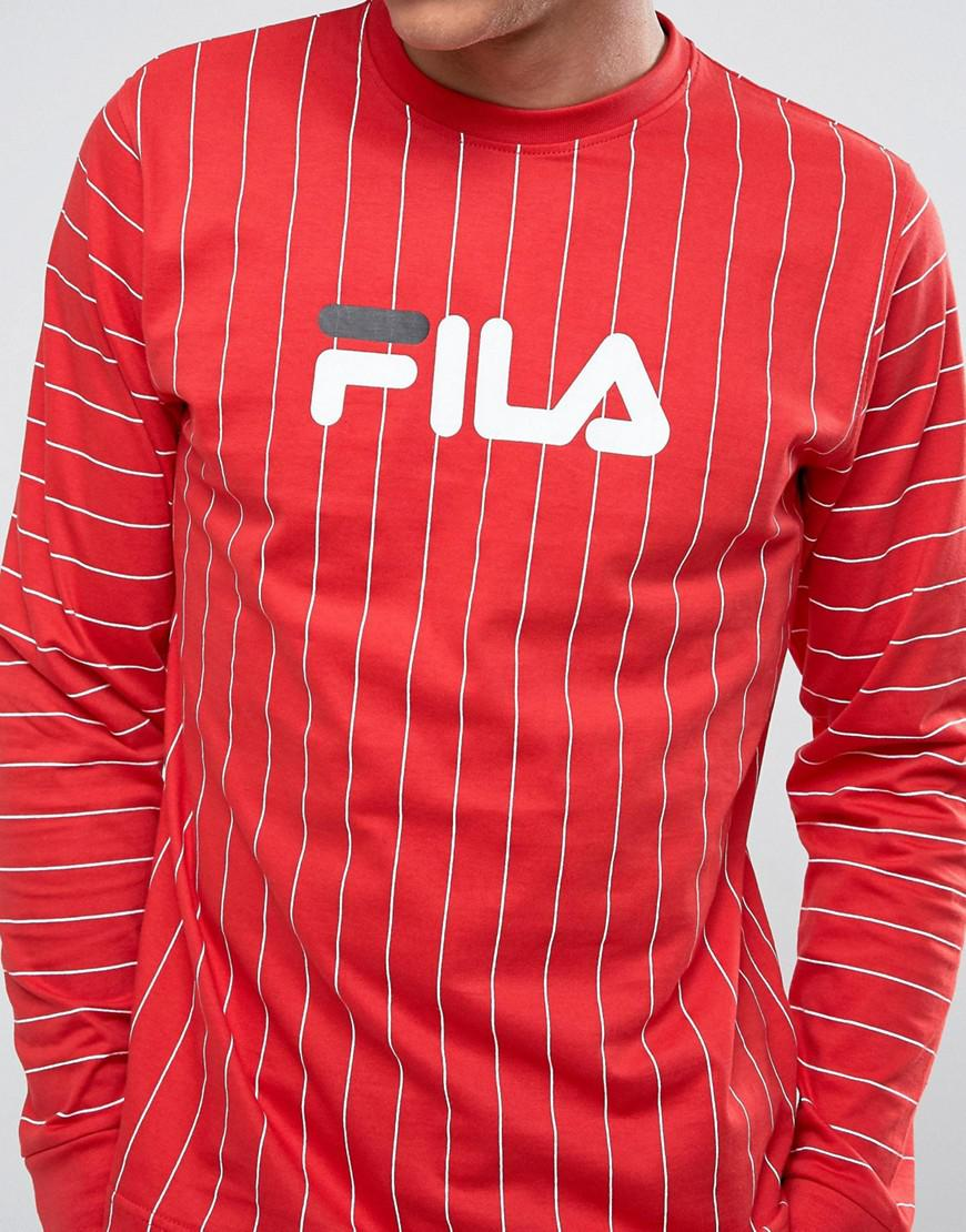 7c93e8b5b17a Fila Black Long Sleeve Stripe T-shirt in Red for Men - Lyst