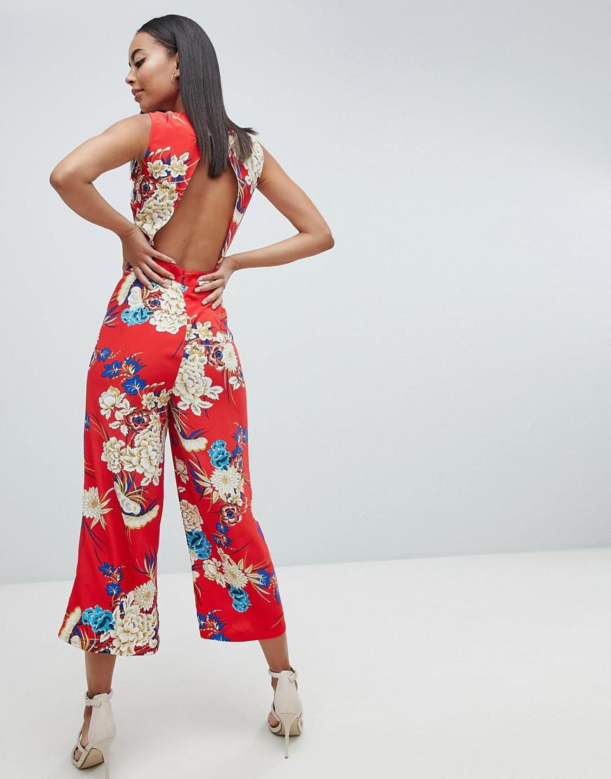 3afe25661cbb Missguided Open Back Floral Culotte Jumpsuit in Blue - Lyst
