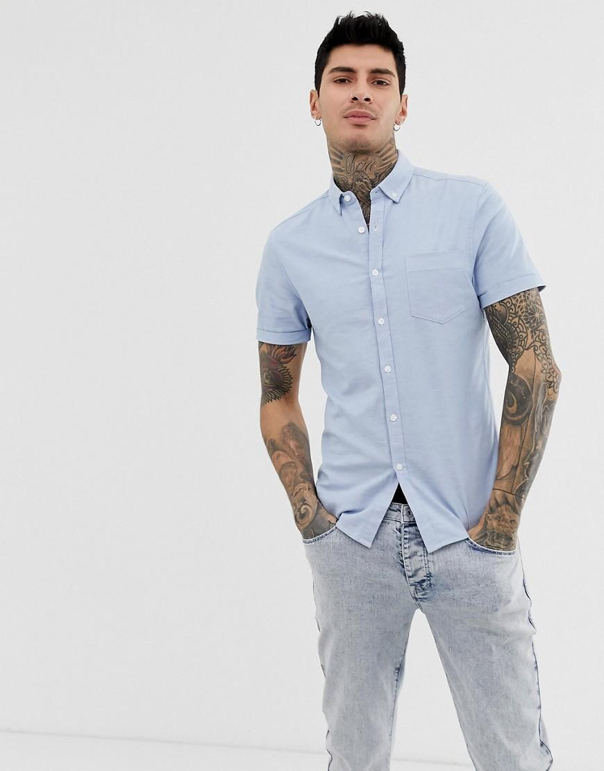 223a50990049 Lyst - ASOS Skinny Oxford Shirt With Button Down Collar In Light ...