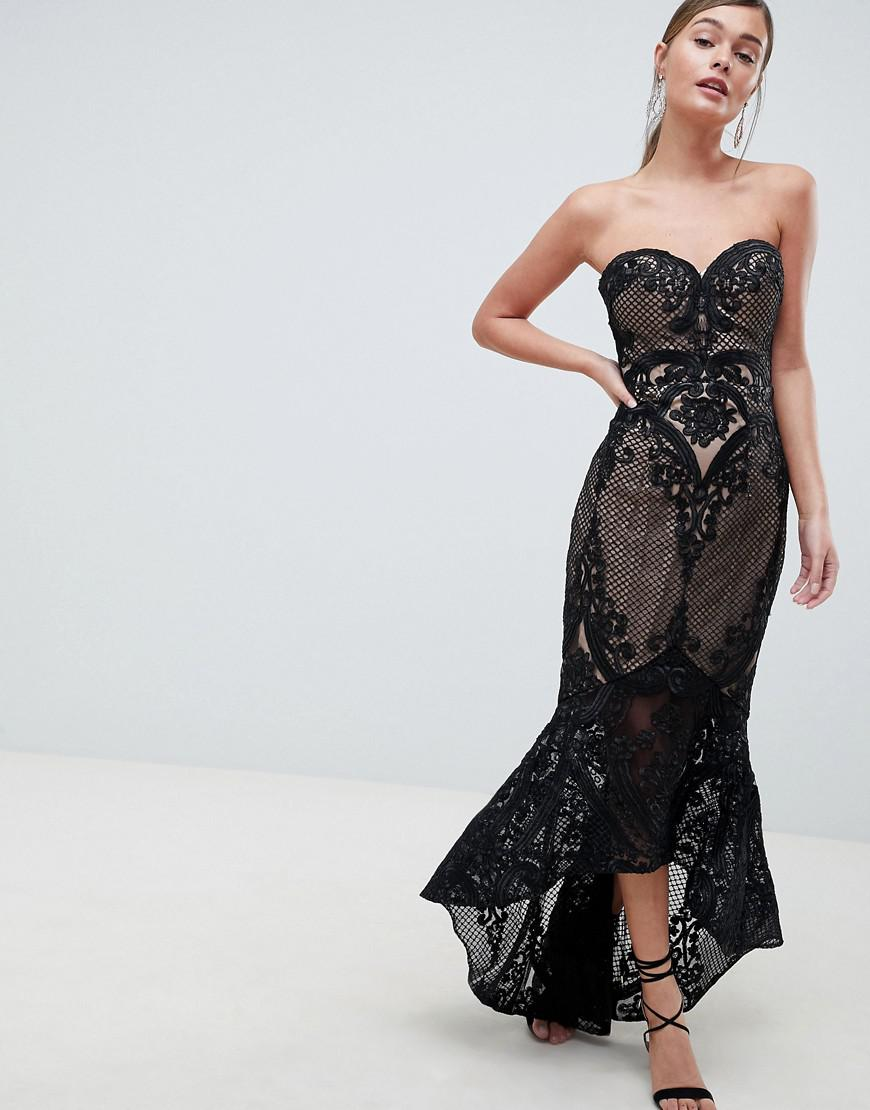 Lyst - Bariano Sweetheart Fishtail Maxi Dress In Lace in Black dc90e4bd3