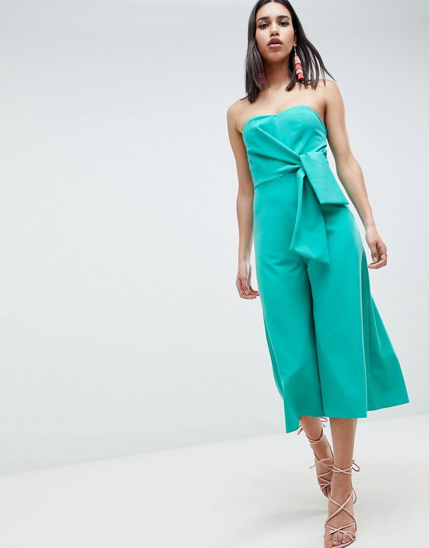 7d5db2079888 Lyst - ASOS Bandeau Jumpsuit With Tie Detail And Culotte Leg in Blue