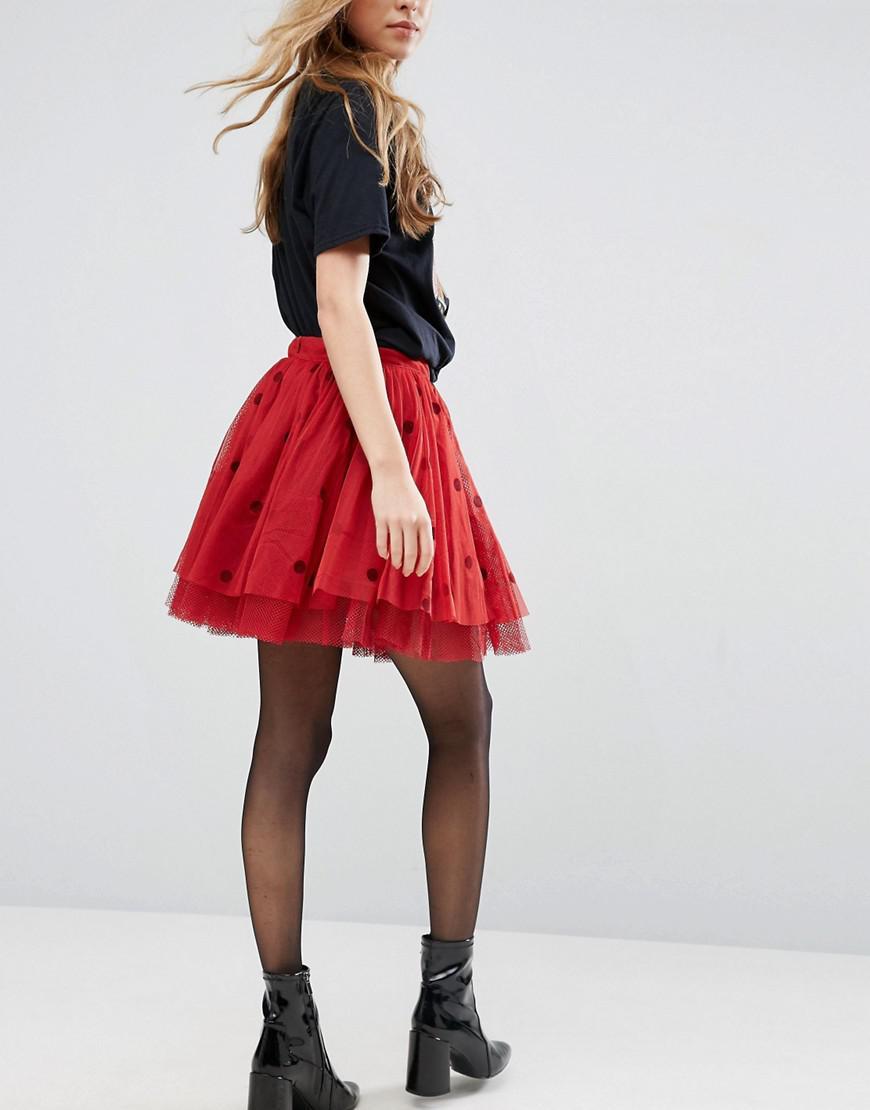 0f9d455de ASOS Mini Tulle Skirt With Flocked Polka Dot in Red - Lyst