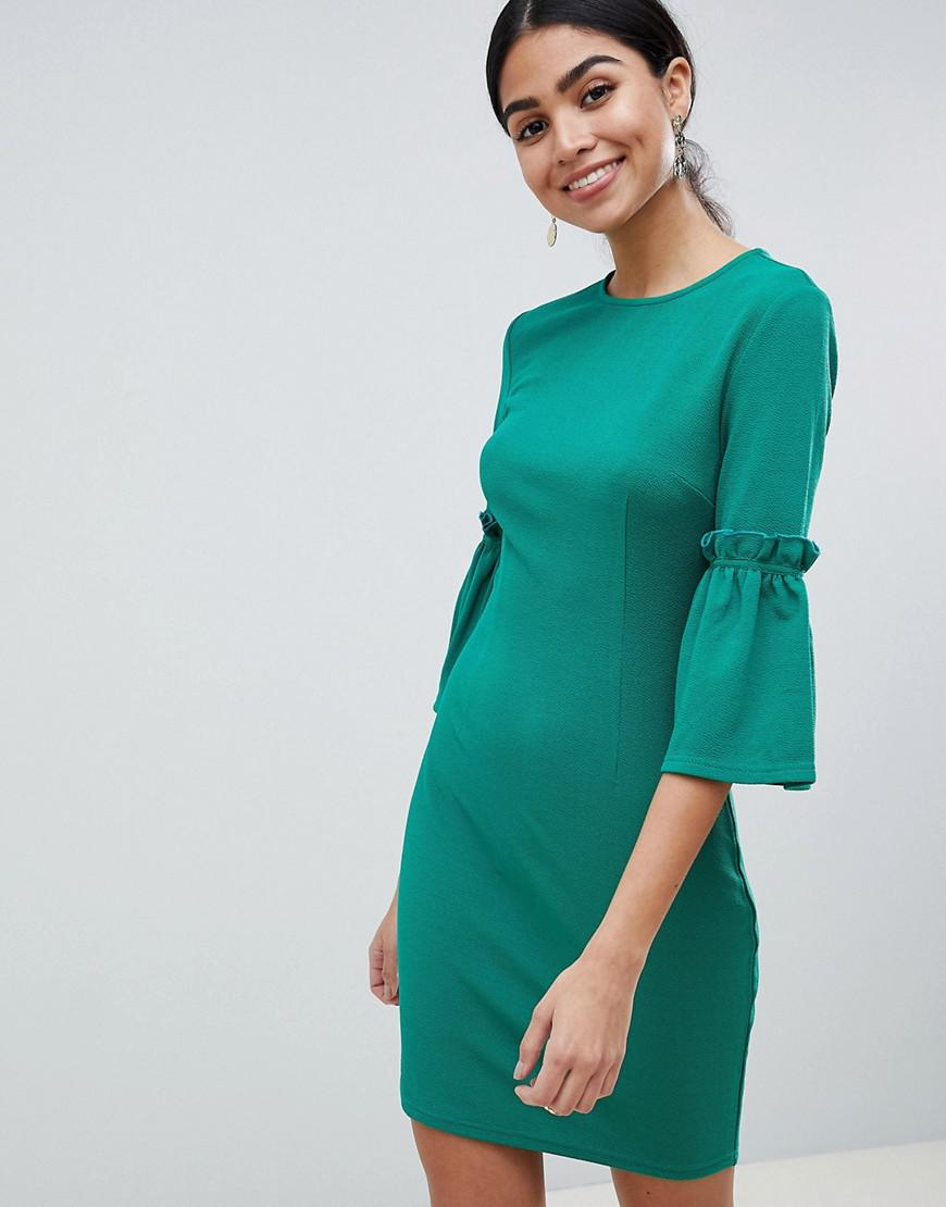 a303f8705e3 Lyst - AX Paris Long Sleeve Shift Dress With Tie Detail in Green