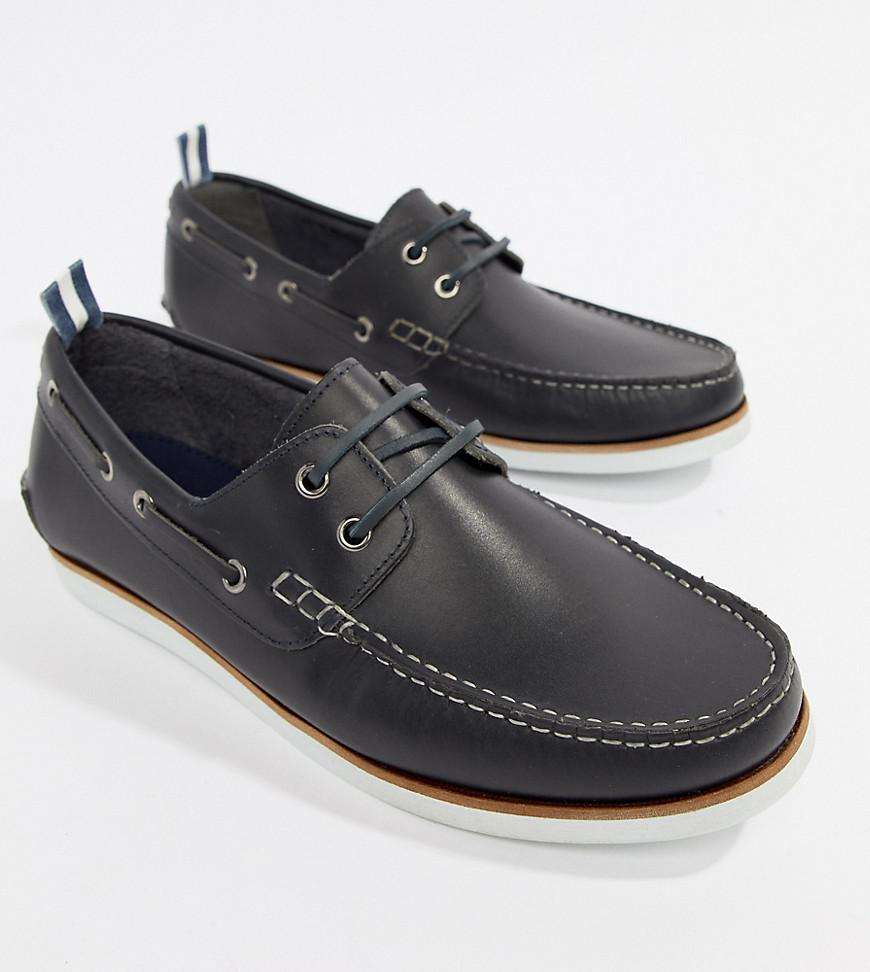 0a29ad9c330cfb ASOS Boat Shoes In Navy Leather With White Sole in Blue for Men - Lyst