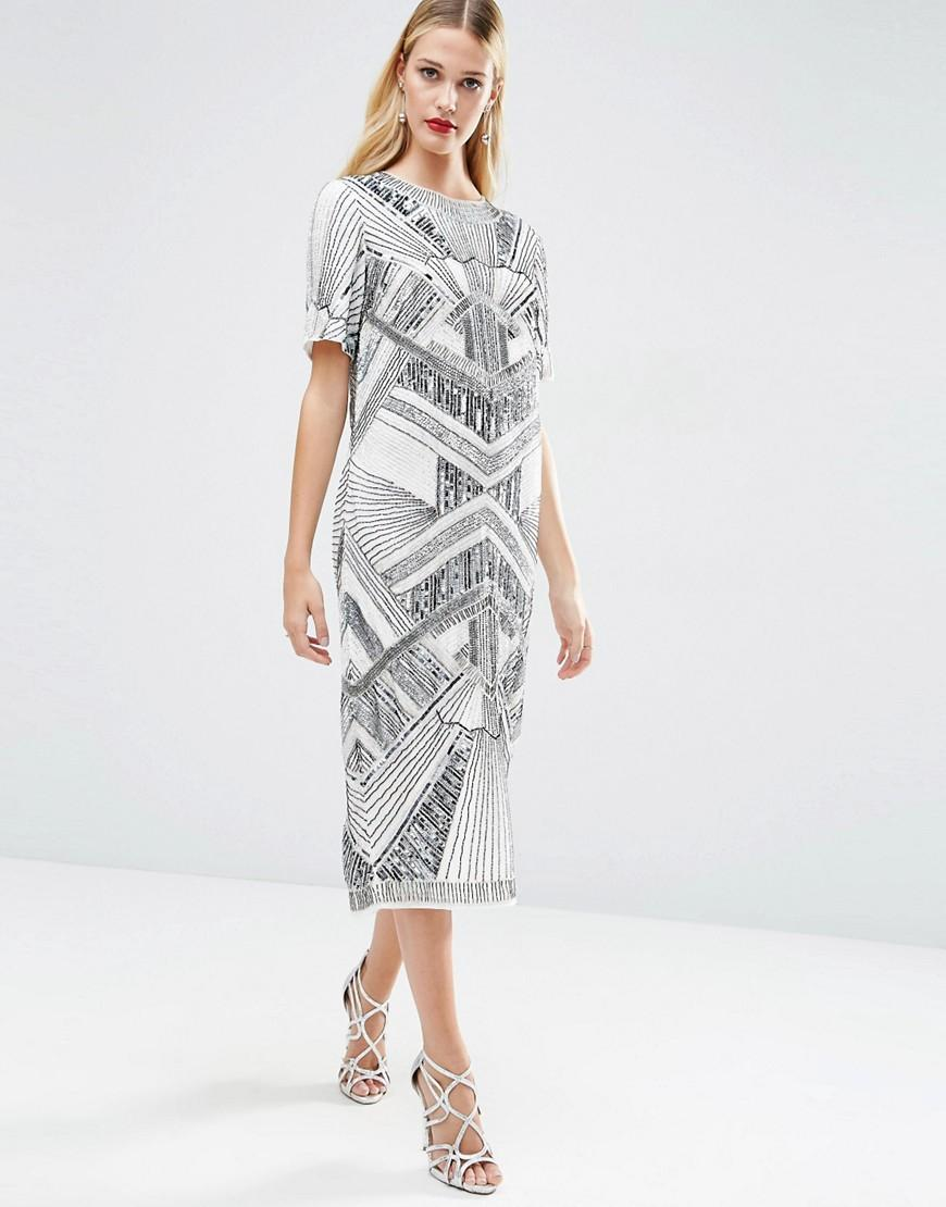a4dd758665 Lyst - ASOS Red Carpet Iridescent Midi T-shirt Dress in Gray