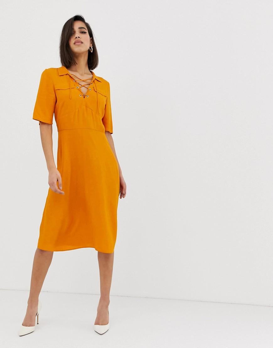 1a812ffc6ede Lyst - Asos Midi Shirt Dress With Lace Up Front in Yellow