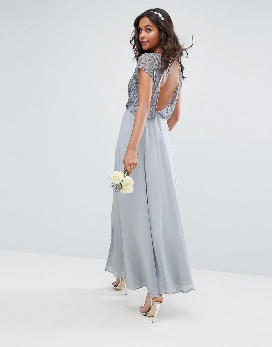 87e3c07d584 ASOS Asos Delicate Beaded Bodice Maxi Dress in Gray - Save 13% - Lyst