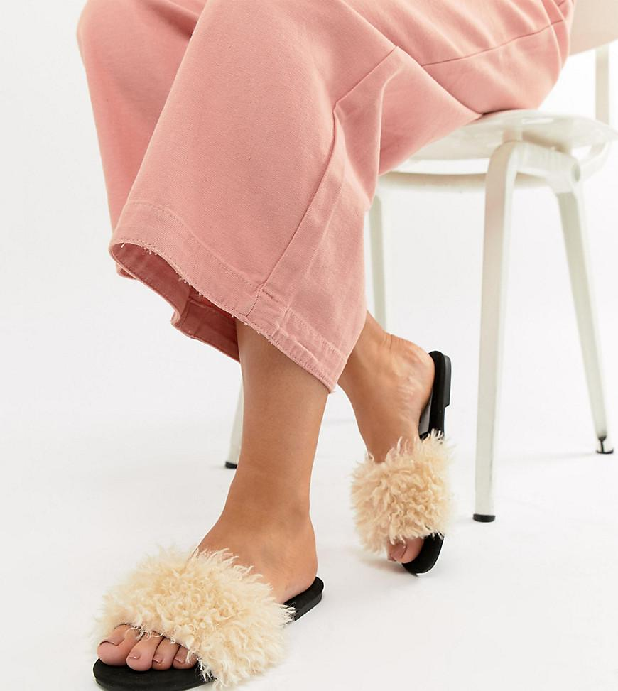 best clearance store sale online DESIGN Fuzz Wide Fit Faux Fur Sliders discount outlet locations K0u2Ad