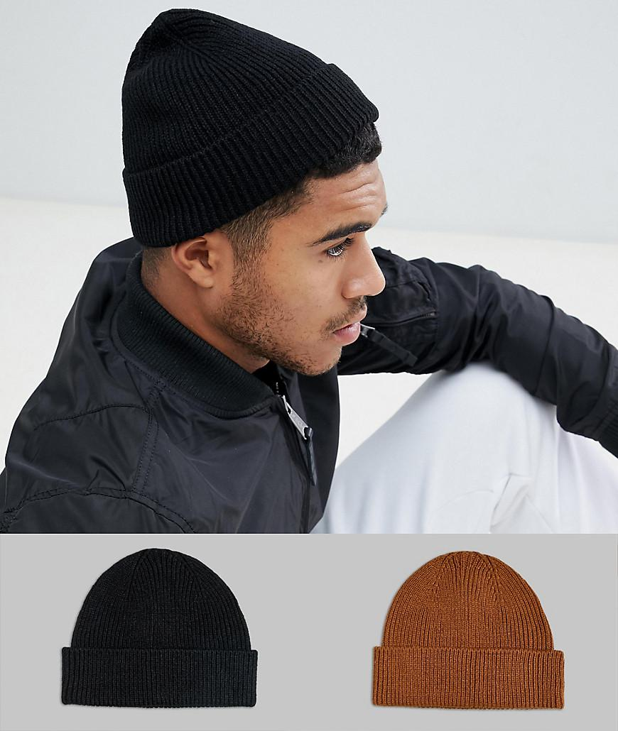 3621d7e560f ASOS 2 Pack Fisherman Beanie In Black   Tobacco Save in Black for ...