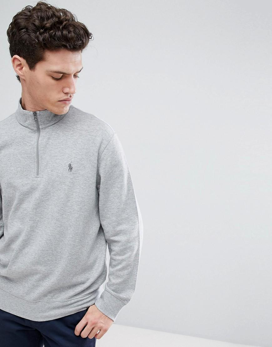 5eb9e137e Polo Ralph Lauren Half Zip Sweatshirt In Grey Marl in Gray for Men - Lyst