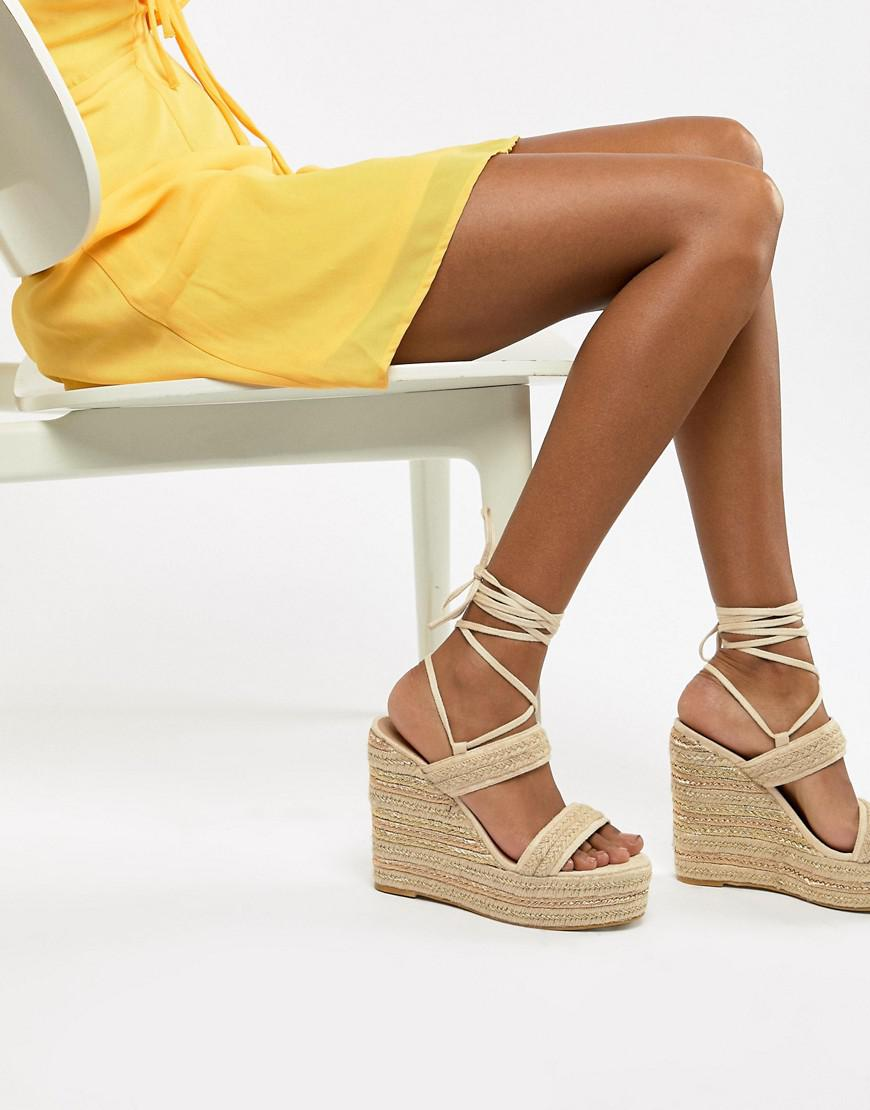 PRETTYLITTLETHING Ankle Wrap Espadrille Wedges