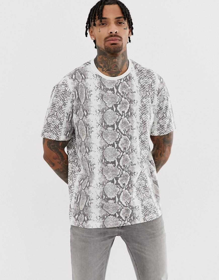 691b9a00 Another Influence Snake Print Boxy T-shirt in Gray for Men - Lyst