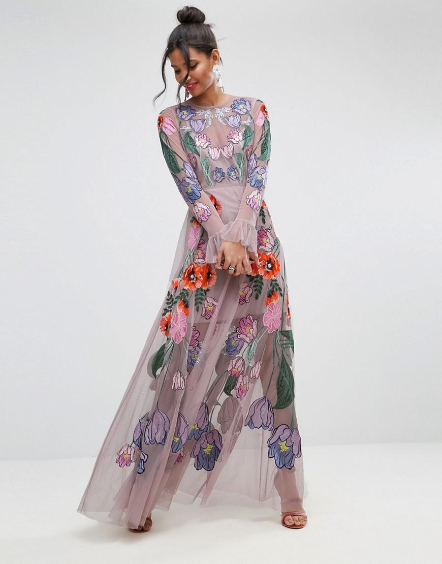 b37decbe76f ASOS Salon Embroidered Floral Maxi Dress in Pink - Lyst